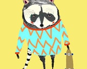 The Raccoon. Limited edition art print.