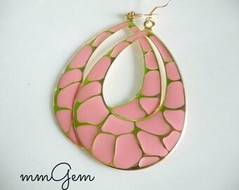Pink earrings, statement earrings, pink statement earrings, big earrings, teardrop earrings, gold earrings, pastel earrings, peach earrings