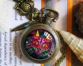 Legend of Zelda Majora's Mask Serenity pocket watch necklace pendant dome glass bronze antique  keychain key chain