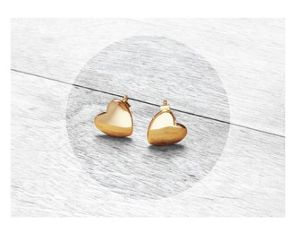 Get 15% OFF - 18K Gold Plated over Sterling Silver 925 Petite Heart-shape Stud Earrings - 4th of July SALE 2017