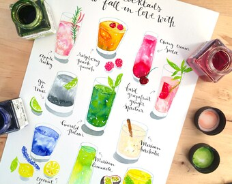 Bar print, bar decoration, bar decor, bar wall art, cocktail art, cocktail print, cocktail art print, cocktail list, drinks menu