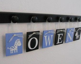 Zebra Safari Decor, Safari Nursery - Wooden Knobs and Baby Name Set Painted Light Blue / Black, African Safari Baby Boys Room, Wall Sign