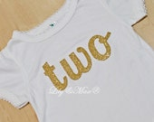 Gold number two onesie ,Glitter TWO gold shirt, embroidered applique number, gold ONE birthday shirt,  pink and gold tutu outfit