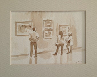 "Ink drawing, brush ink wash, ""The Acquisition "" 5x7 inches."