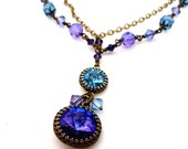 Crystal pendant layered necklace, violet aqua drop double rhinestone, antiqued brass chain, wirewrapped beads, purple aqua bead Boho jewelry