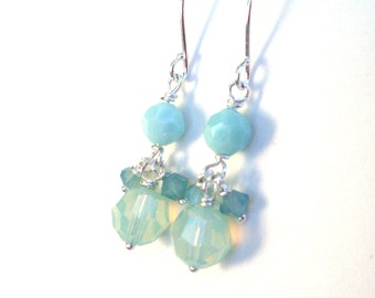 Mint crystal bead earrings, Austrian crystal opal colours aqua mint, dangle summer earrings, bright silver wire wrapped mint crystal jewelry