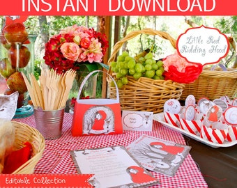 Little Red Riding Hood Party DIY Printable Kit - INSTANT DOWNLOAD