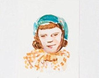 Watercolor: Girl in blue green Hat