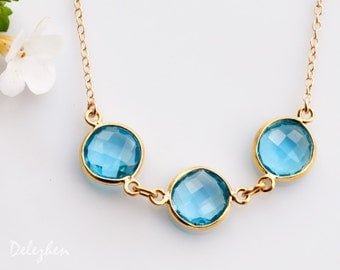 Blue Topaz Necklace - December Birthstone Necklace - Bezel Gemstone Connecters - Gold Necklace - Wedding Jewelry
