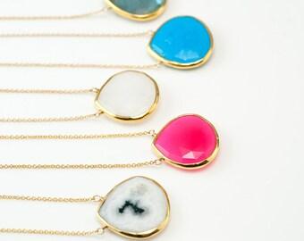 Colorful Gemstone necklace - Something blue - Bridesmaid Jewelry - Layered Necklace - Gemstone Pendant - Bridesmaid Necklace - Boho Jewelry