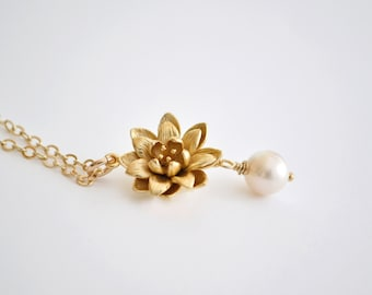 Gold Lotus Flower Necklace, Whtie Freshwater Pearl, 14K Gold Filled Chain, Water Lily Flower Pendant, Beauty Life