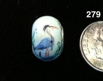 Great Blue Heron Large Hole  European Style Bead - Sterling