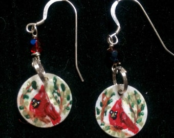 Cardinal Earrings - Hand Painted