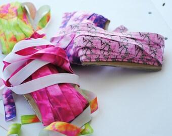 Elastic 15mm Pink tie dye