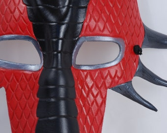 Red, Silver, and Black Leather Dragon Mask