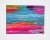 Rainbow Harmony One 9x12 canvas paper original painting