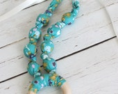 Teething Necklace with ring in tealberry