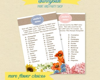 SOUTHERN NAMES Printable Bridal Shower Name Game - Ice Breaker - Southern Name Game, You choose flowers & color