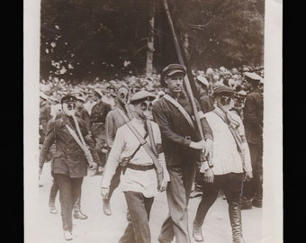 Interesting historical 1920s Photo of Russian War Forces in International Red Parade // Gas Masks