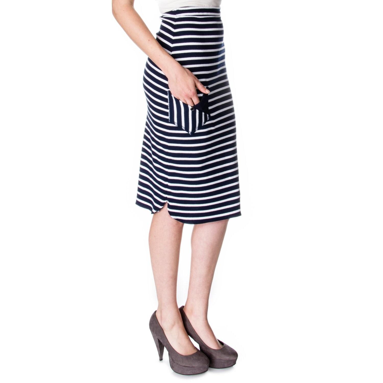 scalloped tea length pencil skirt