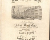 1843 BOSTON ANTIQUE LITHOGRAPH State Street March Sheet Music