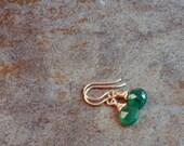 AA green onyx teardrop briolette earrings in rose gold fill