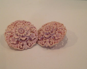 Vintage Pink Clip On Earrings