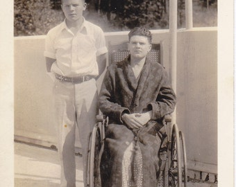 Road to Recovery- 1920s Antique Photograph- Man in Wheelchair- Bath Robe and Slippers- Hospital Visit- Old Photo- Snapshot- Paper Ephemera