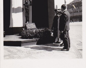 Burned Timber Memorial Cross- 1950s Vintage Photograph- Poděbrady, Czech Republic- Old Photo- Fire Disaster- Mourning- Paper Ephemera