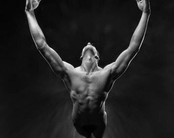 5866-MM Original Art Powerful Man Reaching Up Strong Male Muscles Guy Standing signed Maher B&W Bedroom Decor Black White Bathroom Artwork
