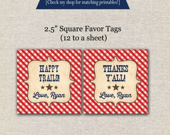 Cowboy Favor Tags - red and blue | Cowboy Thank You Tags | Cowboy Birthday Party | digital printable