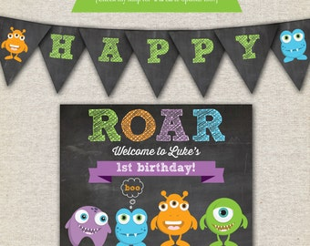 Monsters Birthday Party Kit - printable invitation - thank you card - banner - sign - party circles - favor tags - food/drink label