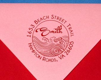 Round Waves Return Address Label Ocean Address Stamp Japanese Style Wave Design Tsunami  Beach Wave Rubber Stamp Self Inking or Standard