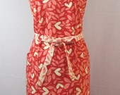 Plus Size Mothers Day Apron Hearts Red Hots Pink Peach Cream Leaves Flowers 100% Cotton Gifts For Her Love Valentine