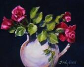 Roses Still Life Watercolor Tiny Original Art