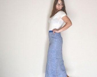 High Waist Skirt 1960s Blue White Striped Vintage Linen Ankle Length Center Slit Skirt Small