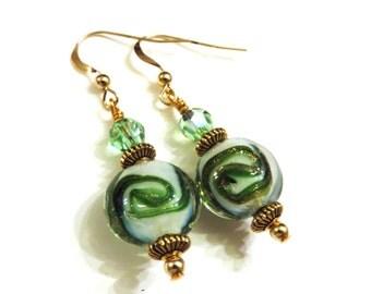 Green Earrings, Green & Gold Lampwork Earrings, Green Swarovski Crystals, Green Dangle Earrings, Lampwork Jewelry