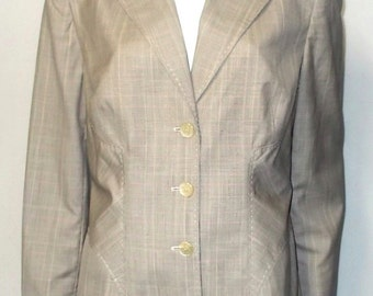 Carlisle Jacket size 12 Wool Silk Plaid Lined boning Excellent condition Vintage career wear to work plaids Misses L