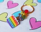 Rainbow Cake Charm Cake Keychain ( rainbow cake keyring, funny gift, food miniature, food keychain, rainbow keyring, polymer clay cake )