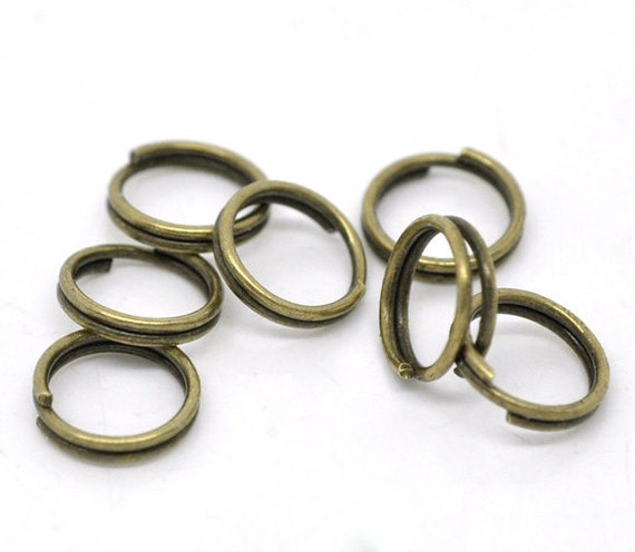 8mm Split Rings : 100 Bronze / Brass Double Loop Split Open Jump Rings 8mm Diameter -- Lead, Nickel, & Cadmium free Jewelry Findings 8.100