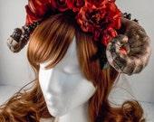 Deep Red Floral Ram Horns