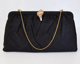 Vintage Black Clutch or Handbag with a Seashell Clasp