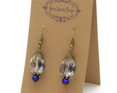 Gifts under 10 - Pretty little glass bead earrings with filigree - special holiday price!  SST3096