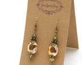 Gifts under 10 - Pretty little glass bead earrings with filigree - special holiday price!  SST3118