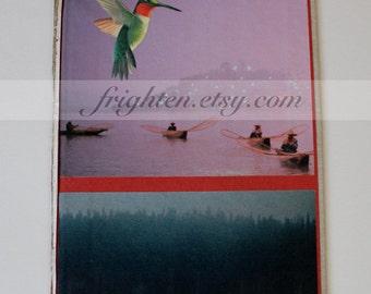 Book Cover Art, Paper Collage, Original Art, One of a Kind, Mixed Media Art, Hummingbird Art, Unusual Wall Decor
