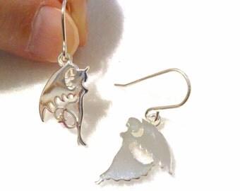 Angel Earrings, Devil Earrings, Sterling Silver Earrings, Minimalist Earrings, Steampunk Wing Earrings, Valentine Gift, Birthday Gift, DEVAN