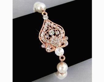 Rose Gold Bridal Bracelet,  Pearl Wedding jewelry, Bridal Earrings, Swarovski pearls crystals Bridesmaids jewelry Alexandra Bracelet