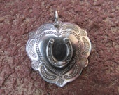 Horseshoe Heart Concho Sterling Silver Pendant Cowgirl Equestrian Necklace