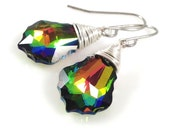 Sparkly Rainbow Earrings - Swarovski Crystal Vitrail Medium Irridescent Wire Wrapped Silver Dangle Earrings