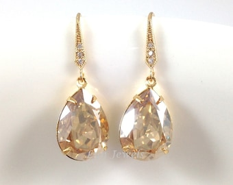 Champagne Gold Swarovski Crystal Golden Shadow Teardrop Earrings, Wedding Earrings, Bridal Bridesmaids Earrings